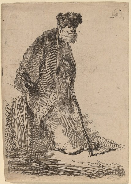 Man in a Coat and Fur Cap Leaning against a Bank