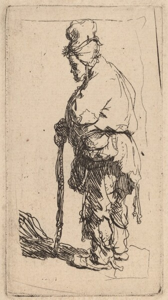 Beggar Leaning on a Stick, Facing Left