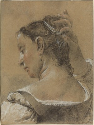 A Young Woman Fixing Her Hair