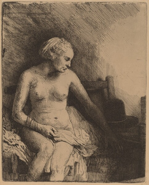Woman at the Bath with a Hat beside Her