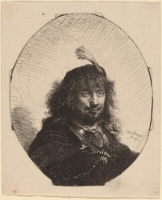 Self-Portrait (?) with Plumed Cap and Lowered Sabre